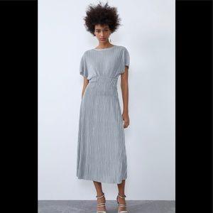 Zara Silver Pleated Dress